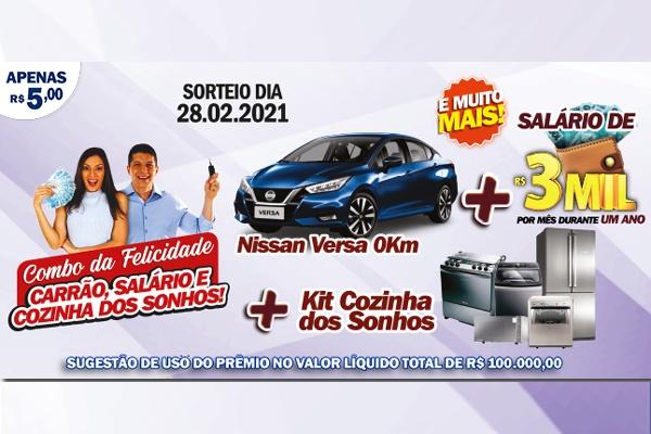 Combo da Felicidade do RJ DA SORTE vai sortear um carrão, salário, cozinha dos sonhos neste domingo