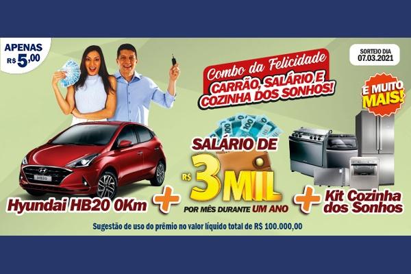 Combo da Felicidade do RJ DA SORTE deste domingo tem sorteio de carrão, salário, cozinha dos sonhos…